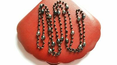 Vintage Art Deco Long Wired Lustre Black Oval Glass Bead necklace