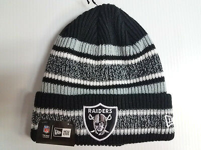 pretty nice ee3f2 68108 Oakland Raiders New Era Knit Hat Vintage Stripe Beanie Stocking Cap NFL