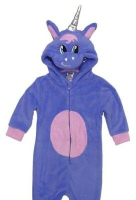 Kids 3D Unicorn 1Onesie Girls Pyjamas Boys Hooded Fleece All In One 2-12 Years