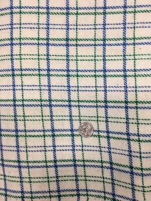 "Vintage Wool Plaid Fabric Blue Green 60"" x 5 Yards"