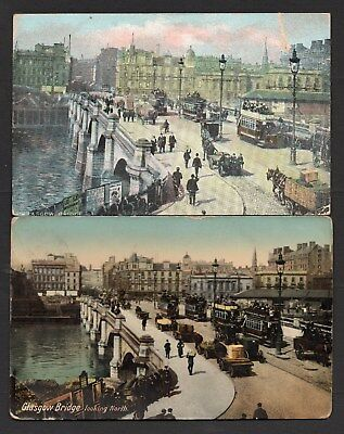 Glasgow Bridge Looking North x 2 Different Used Cards With Trams Etc See Scans