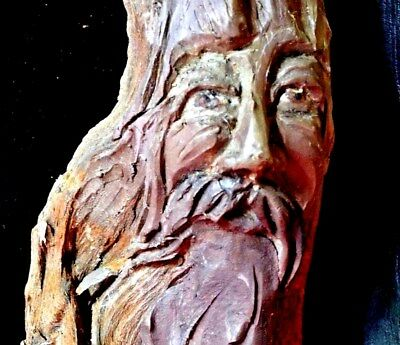 Antique Art By West Coast Native  Hand Craft Wooden Sculpture With .signature