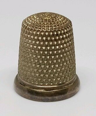 Antique Signed Sterling Silver Simon's Brothers Size 9 Sewing Thimble