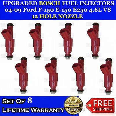 8x Upgrade 12 Hole Nozzle Bosch Fuel Injectors For 2004-2005 Ford Explorer 4.6L