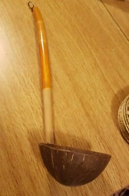 Vintage Long Handled Real Coconut Shell Ladle