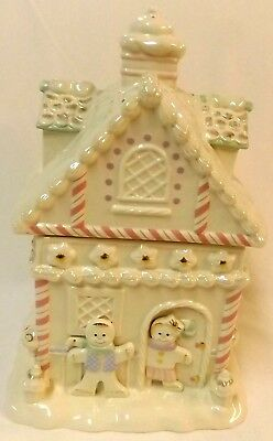 Lenox Gingerbread House 2005 Pastel Cookie Jar with 24k Gold Accents COA Unused