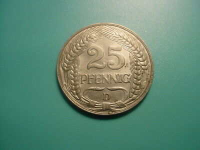 Germany 1909-D 25-Pfennig In Excellent Condition