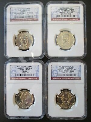 4-2008 P & D $1 Presidential Dollars 1- SMS & 3-First Day Of Issue