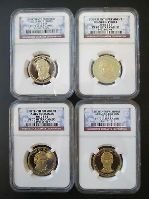 4-2010 S $1 Presidential Dollars PF 70 Ultra Cameo 13th- 14th- 15th- 16th