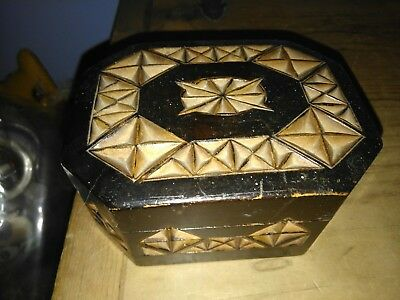 Beautiful Antique Victorian Ebonized And Carved  Trinket Box