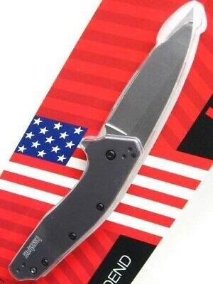 Kershaw Gray Dividend Assisted Straight Stonewash Folding Pocket Knife 1812GRY