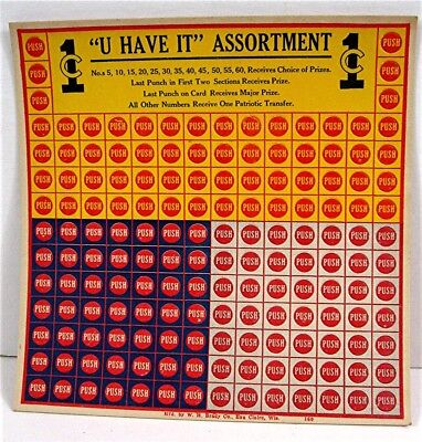 U Have It Assortment 1 Cent Punch Board Gambling Display Card Old Store Stock
