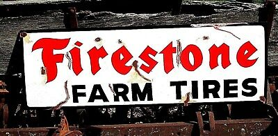 "Large Vintage Painted Metal FIRESTONE FARM TIRES Tractor Truck Gas Oil 36"" Sign"