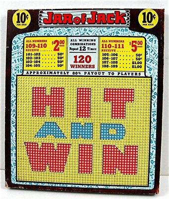 Jar Of Jack Hit & Win10 Cent Thick Punch Board Gambling Unused Old Store Stock