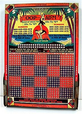 1936 Oop And Ad'm Characters 5 Cent Punch Board Gambling Unused Old Store Stock