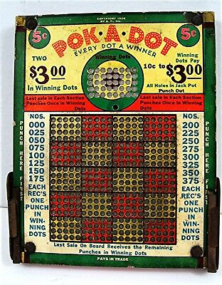 1936 Pok A Dot 5 Cent Thick Punch Board Gambling Unused Old Store Stock