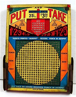 Old Put And Take Thick Punch Board Gambling Unused Old Store Stock