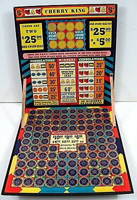 Cherry King 5 Cent Punch Board Folding Prize Board Gambling Unused Old Stock