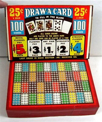 Draw A Card Book Style 25 Cent Punch Board Gambling Unused Old Store Stock
