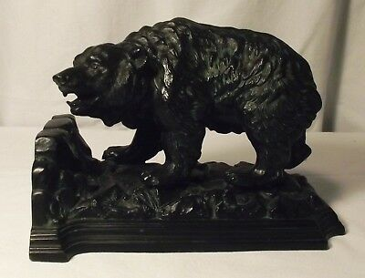 Bronze (?) Grizzly Bear Bookend, One Only, 7 1/2 by 5 1/2 Inches