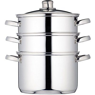 KitchenCraft Induction-Safe Stainless Steel 3-Tier Food Steamer Pan  Stock Pot,