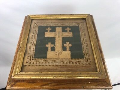 Antique Paper Punch Sampler Religious Crosses Tramp Art Rare