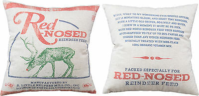 """Primitive By Kathy 16"""" x 16"""" Christmas Throw Pillow """"Red-Nosed Reindeer Feed"""""""