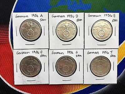 1936 Complete Set 5 Mark WW2 SILVER German Third Reich Swastika Coins