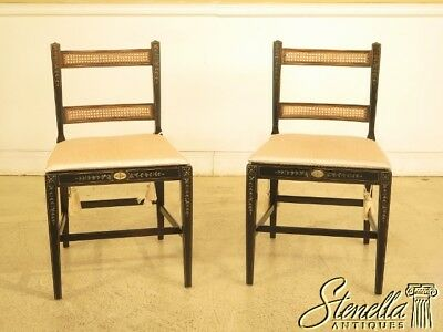 29737EC: Pair KINDEL Adam Paint Decorated Cane Side Chairs