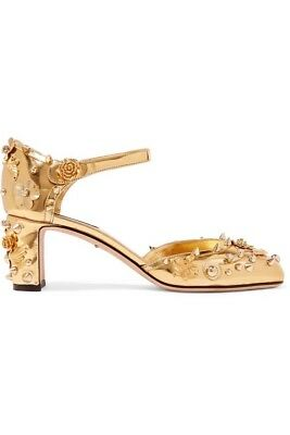 SOLD OUT Dolce & Gabbana Gold Leather Floral Studded Mary Jane Pumps Shoes 39.5