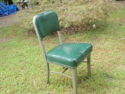 Vintage Office Furniture Chair Steelcase Metal Furniture Co. Green Vinyl Cushion