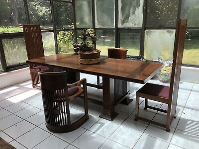 Frank Lloyd Wright Taliesin Style Solid Wood Dining Table