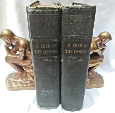Antique! Lot of Two A Year Of The Century Magazine Bound Volumes 1890-1891 NR