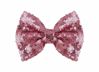 """Large 80s Pink Hair Bow, Sequin Glitter Girls Ladies Hair Bow Grip Clip 4""""x3"""
