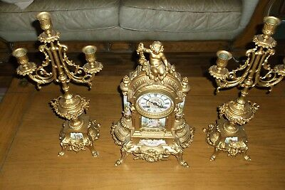 Old 3 pc Jay Freres Porcelain Clock and Candelabra Set in Very GOOD Condition