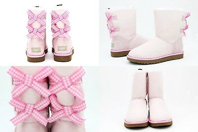 cf19a36e8c8 UGG BAILEY BOW Gingham Seashell Pink Suede Sheepskin Boots Size 6 Us Super  Rare