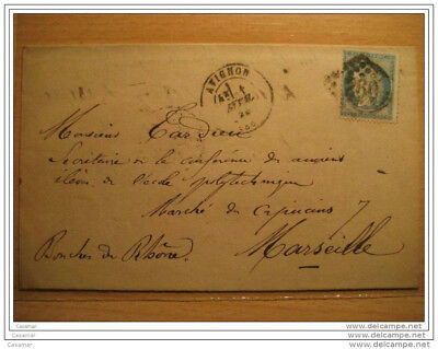 1873 AVIGNON A Marseille 260 Cancel 25c Timbre Sello Stamp Sobre Cover Lettre Fr