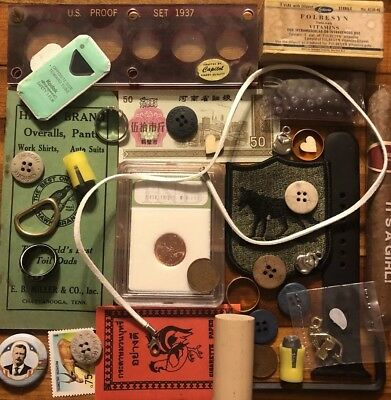 Old Antique Vintage Junk Drawer Estate Lot Coin Stamp Collectible Jewelry Bulk 2