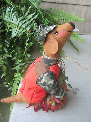 Autumn Red/Brown Dachshund Sculpture in camo holding Pumpkins Harvest Decor!