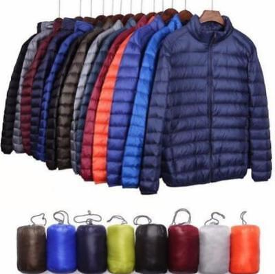 Winter Men's Packable Down Jacket Ultralight Stand Collar Coat Puffer Outerwear
