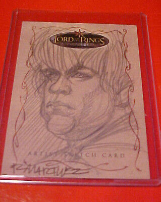 Lord of the Rings LOTR Topps Evolution RARE Martinez Sam Samwise Gamgee SKETCH !