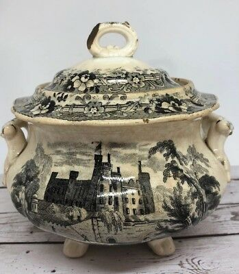 Antique Footed Bowl Mulberry Black Transferware Unusual River Scenes 13J