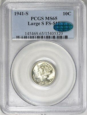 1941-S Mercury Dime LARGE S PCGS MS65 CAC Undergraded Rare Variety