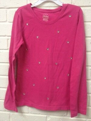 Faded Glory Girls 7/8 Pink Long Sleeve Embellished Heart Jewels Top Tee