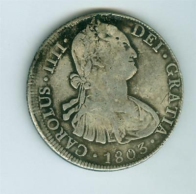 Bolivia Spanish Colonial Charles Iiii 1803 Pts P.j. 8 Reales Circulated