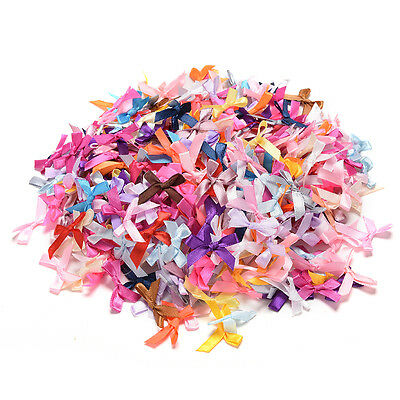 100pcs Mini Silk Satin Ribbon Bow Appliques Scrapbooking Craft DIY Decoration WG