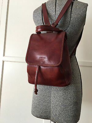 I Medici Firenze Leather Day Backpack Bag Handbag Made in Italy Brown Small
