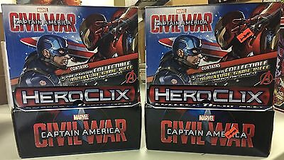 Marvel Heroclix CAPTAIN AMERICA CIVIL WAR two 24ct gravity boxes NEW SEALED