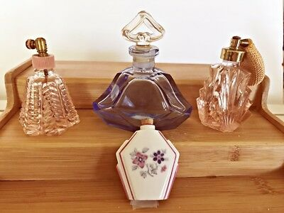 4 Antique Perfume /scent Bottles Deco Colored Glass See Pictures-- B1