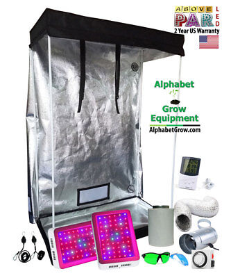 4x2x6 Grow Tent Kit w/ TWO 300w LED Grow Lights, Duct Fan, Carbon Filter 48x24""